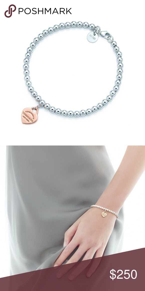 4e1259fc8 Return To Tiffany Bracelet Mini heart tag in Rubedo® metal on a bead  bracelet in sterling silver Size medium, 7