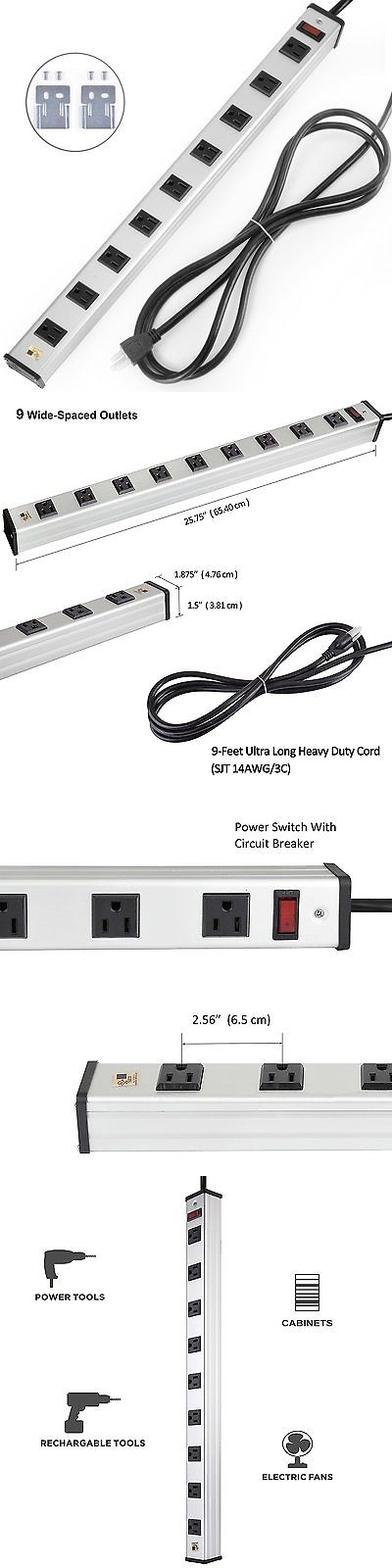 Surge Protectors Power Strips: Bestten 9 Outlet Heavy Duty Metal Surge Protector Power Strip, 9-Foot Extension BUY IT NOW ONLY: $44.85