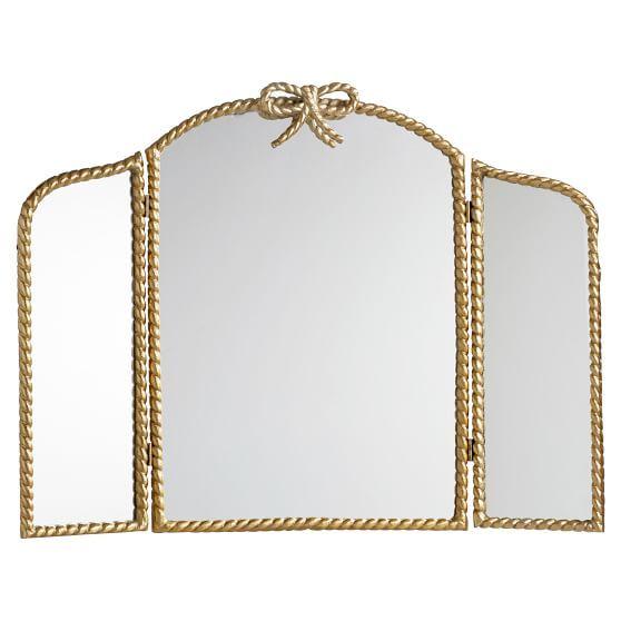 Braided Bow Trifold Mirror, Brass Tri Fold Dressing Table Mirror