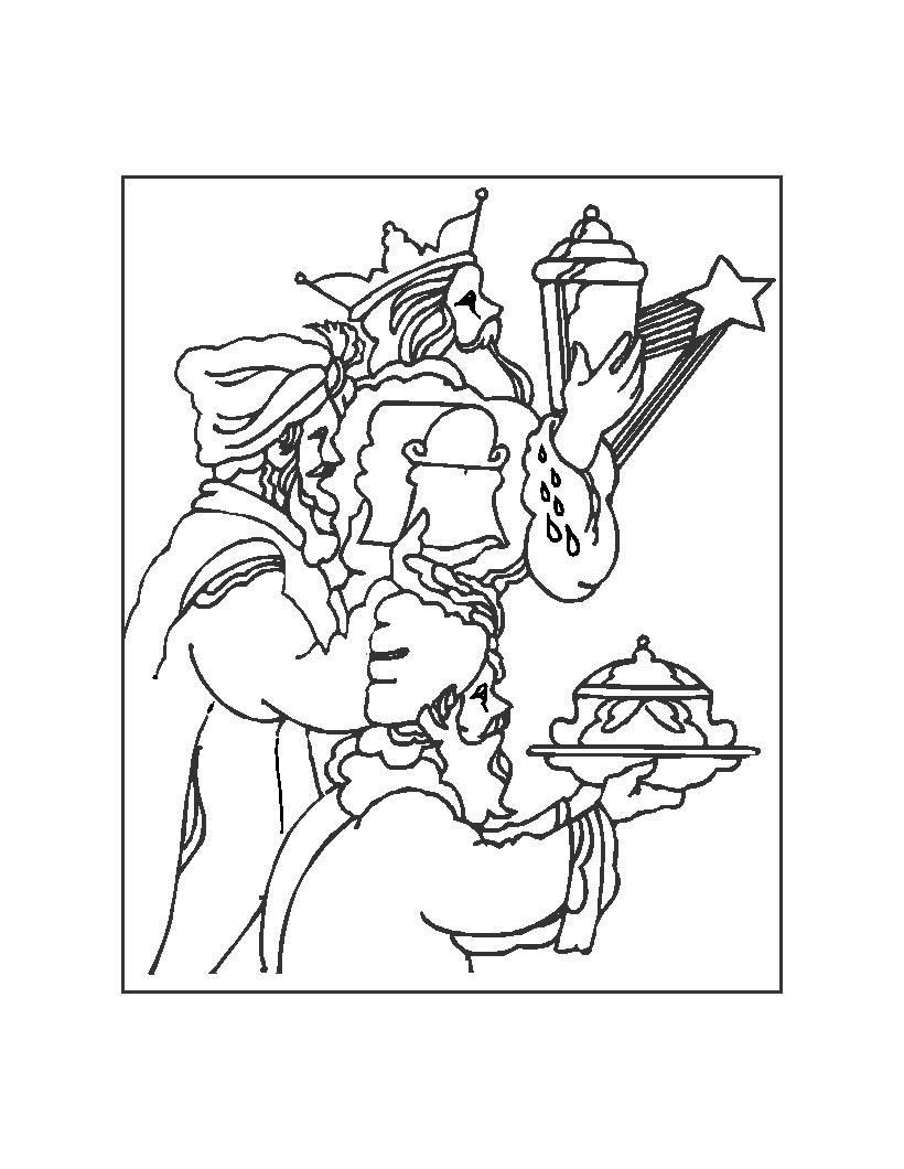 Three wise men coloring pages gold, frankincense and myrrh for xmas ...