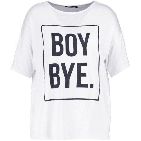 3242b6fb90b Boohoo Plus Annabell 'Boy Bye' Slogan Tee | Boohoo ($11) ❤ liked on  Polyvore featuring tops, t-shirts, crop t shirt, white t shirt, cropped  tees, cropped ...