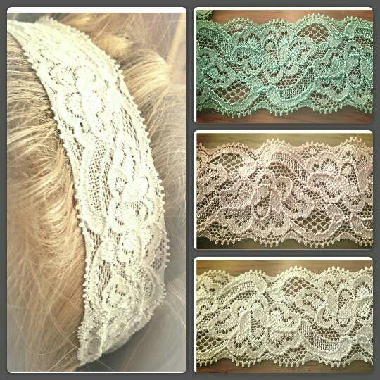 Elastische haarbanden van kant. Binnenkort te bestellen op www.suzancreatief.nl