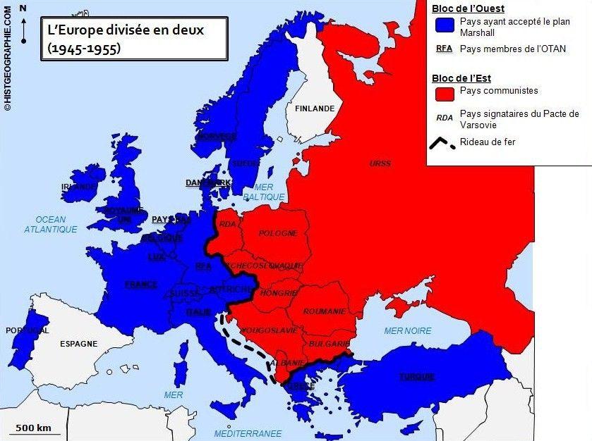 carte europe rideau de fer