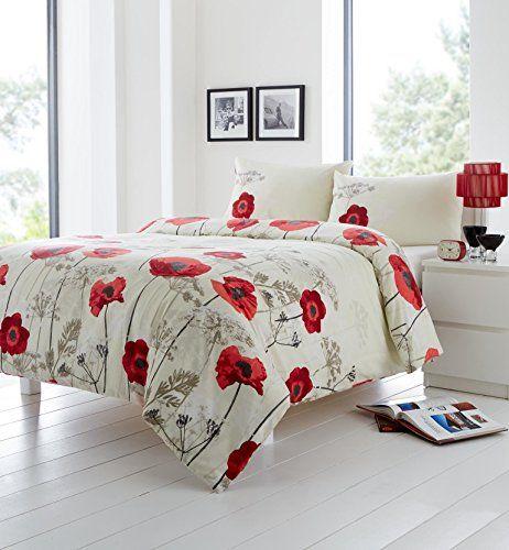 Red Cream Beige Floral Poppy Usa Full 200cm X 200cm Uk Double 120 Thread Count Cotton Blend Duvet Cover Red Duvet Cover Bedding Sets Best Duvet Covers