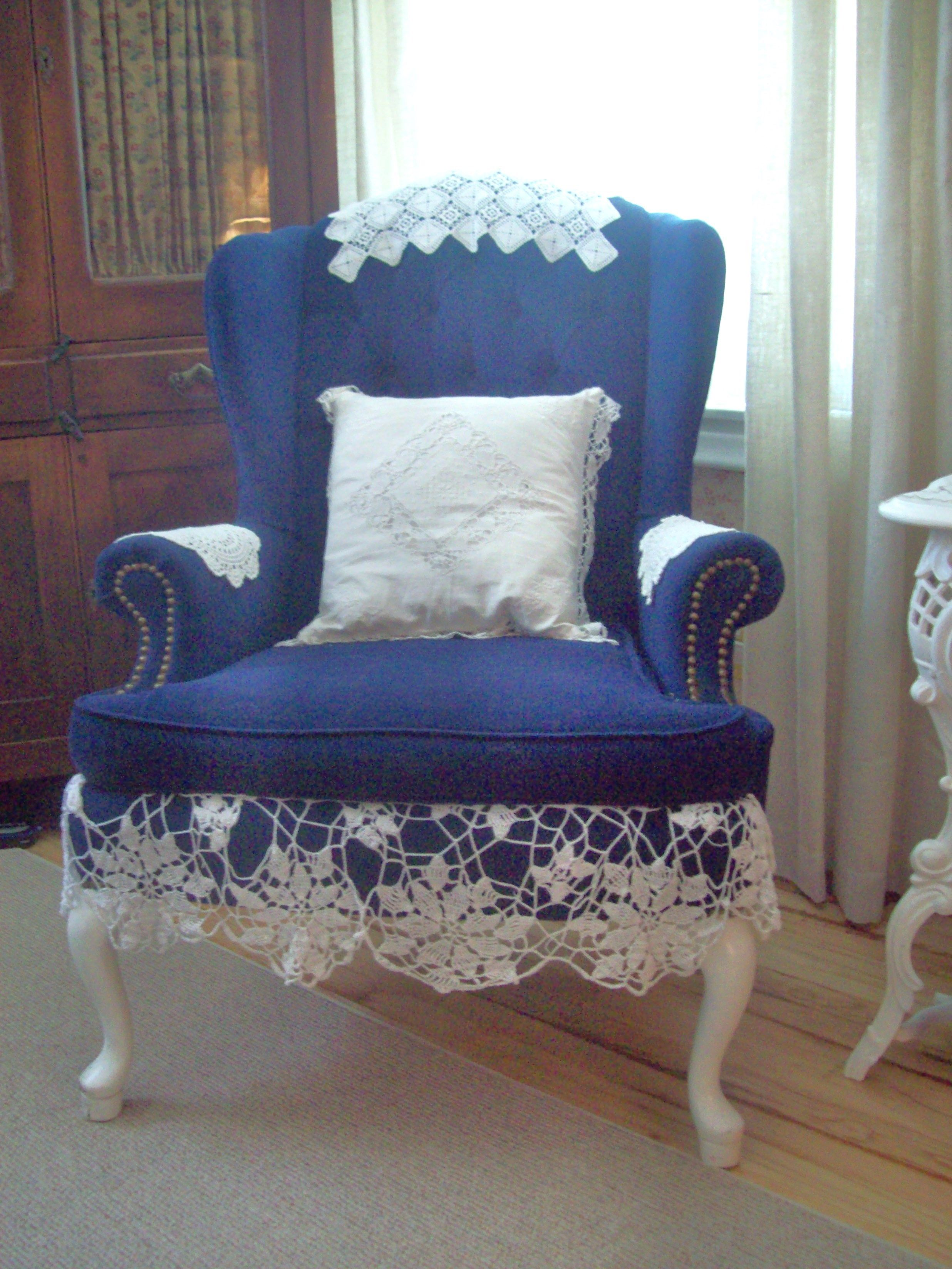old blue velvet chair...perfect for cottage Oversized