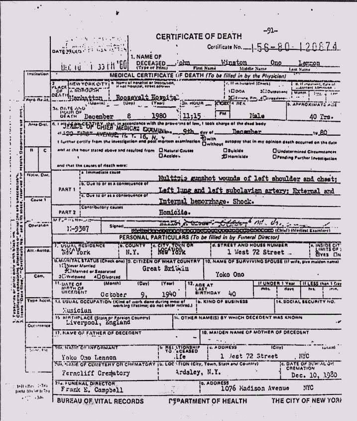Certificado De Defuncion John Lennon John Lennon Death Death Certificate John Lennon