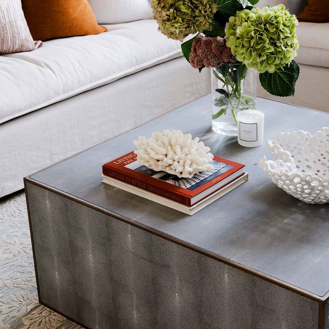 Coco Republic On Instagram Tabletop Details Of The Barolo Coffee Table Faux Shagreen Is Mixed With Rich Metal Accent Coffee Table Coffee Table Styling Table [ 1080 x 1080 Pixel ]