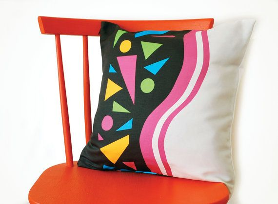 Geometric cushion with triangles by sirtom on Etsy, $40.00