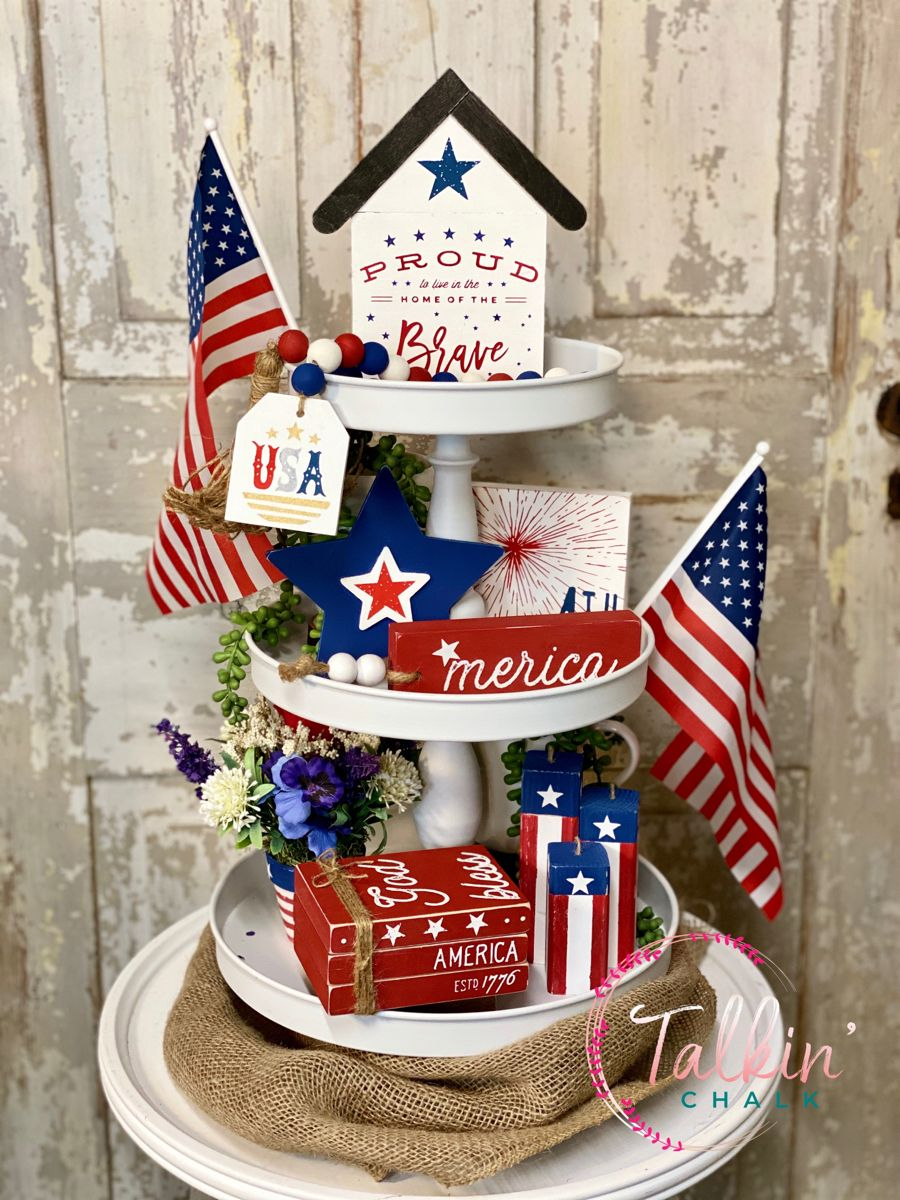 4th of july tier tray 4th of july Decor 4th of july mini sign rae dunn decor Patriotic Tiered Tray Farmhouse Tiered tray patriotic