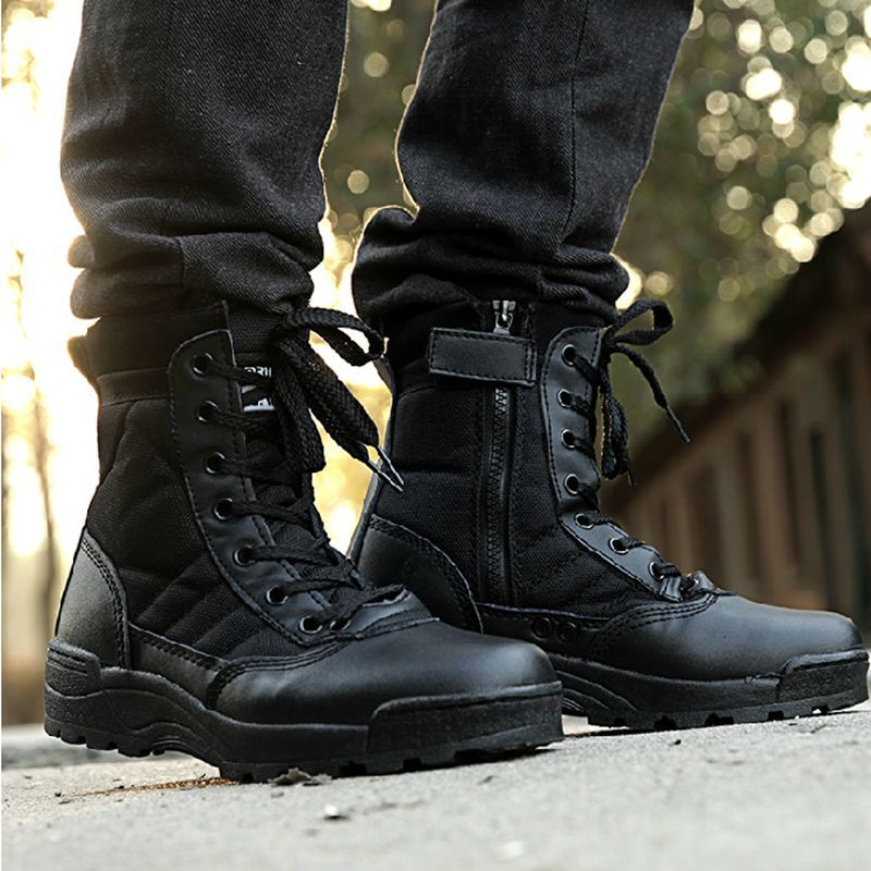 Mid calf Martin Euro Style Combat Military Desert Tactical Boots ...