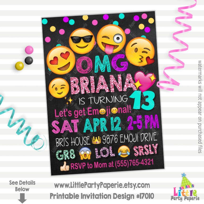 Emoji Birthday Invitation | Emoji Party Invitation | Let\'s Get ...