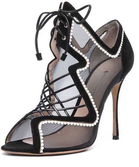 Nicholas Kirkwood  Suede Net Lace Up Heel
