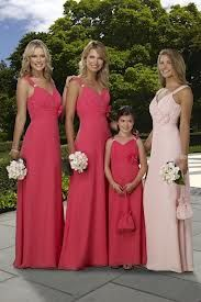 red and pink bridesmaid dresses