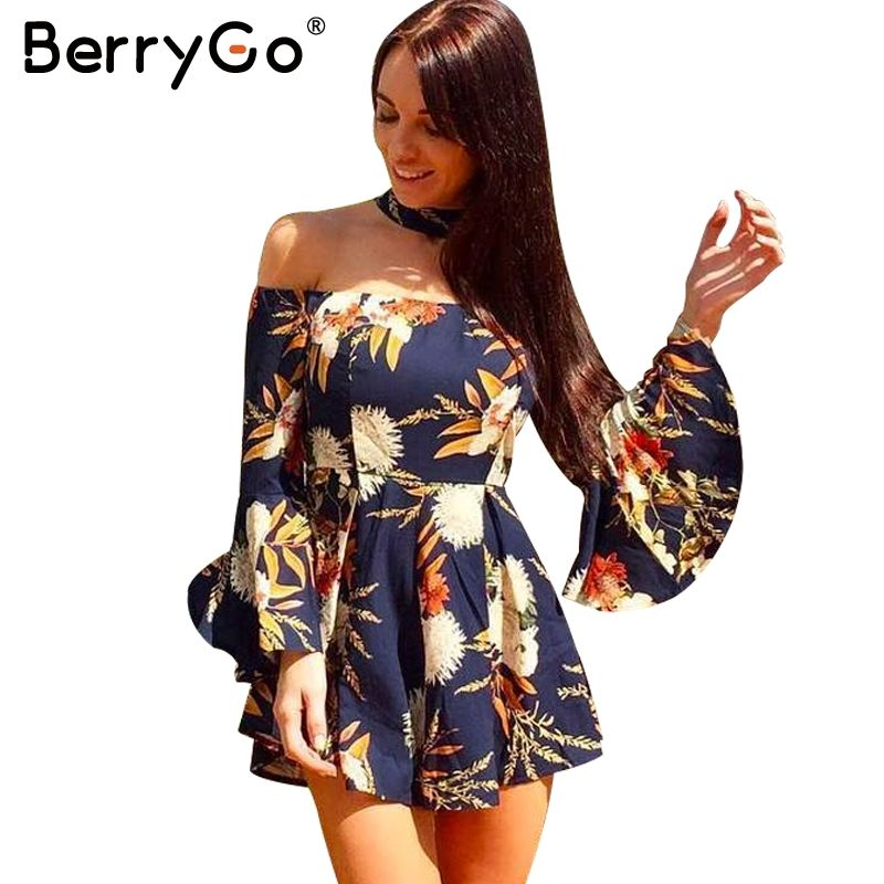 454f476d6ceee $35.38 - Cool BerryGo Halter flare sleeve off shoulder jumpsuit romper Women  sexy floral print short playsuit Summer beach casual overalls - Buy it Now!