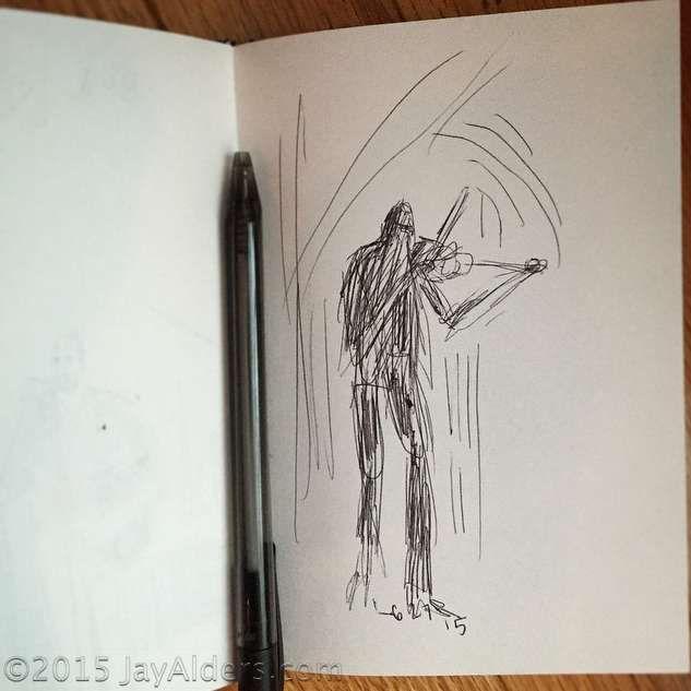 Boyd Tinsley on violin, sketch by Jay Alders
