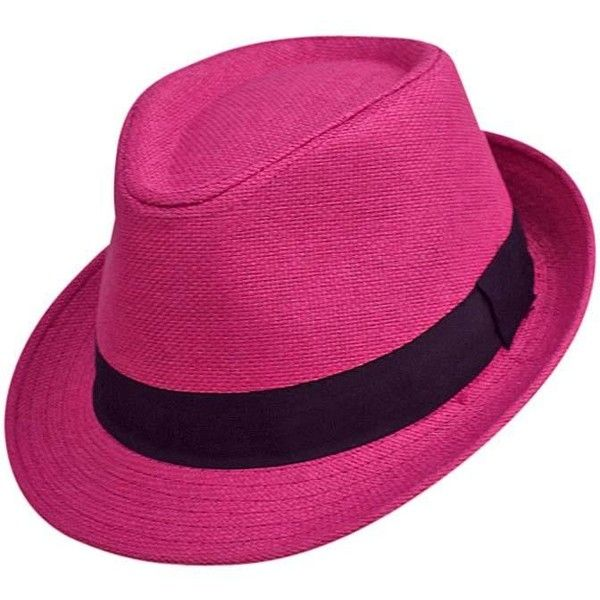 61eefd4462e Hot Pink Basic Straw Fedora Hat ( 20) ❤ liked on Polyvore featuring  accessories