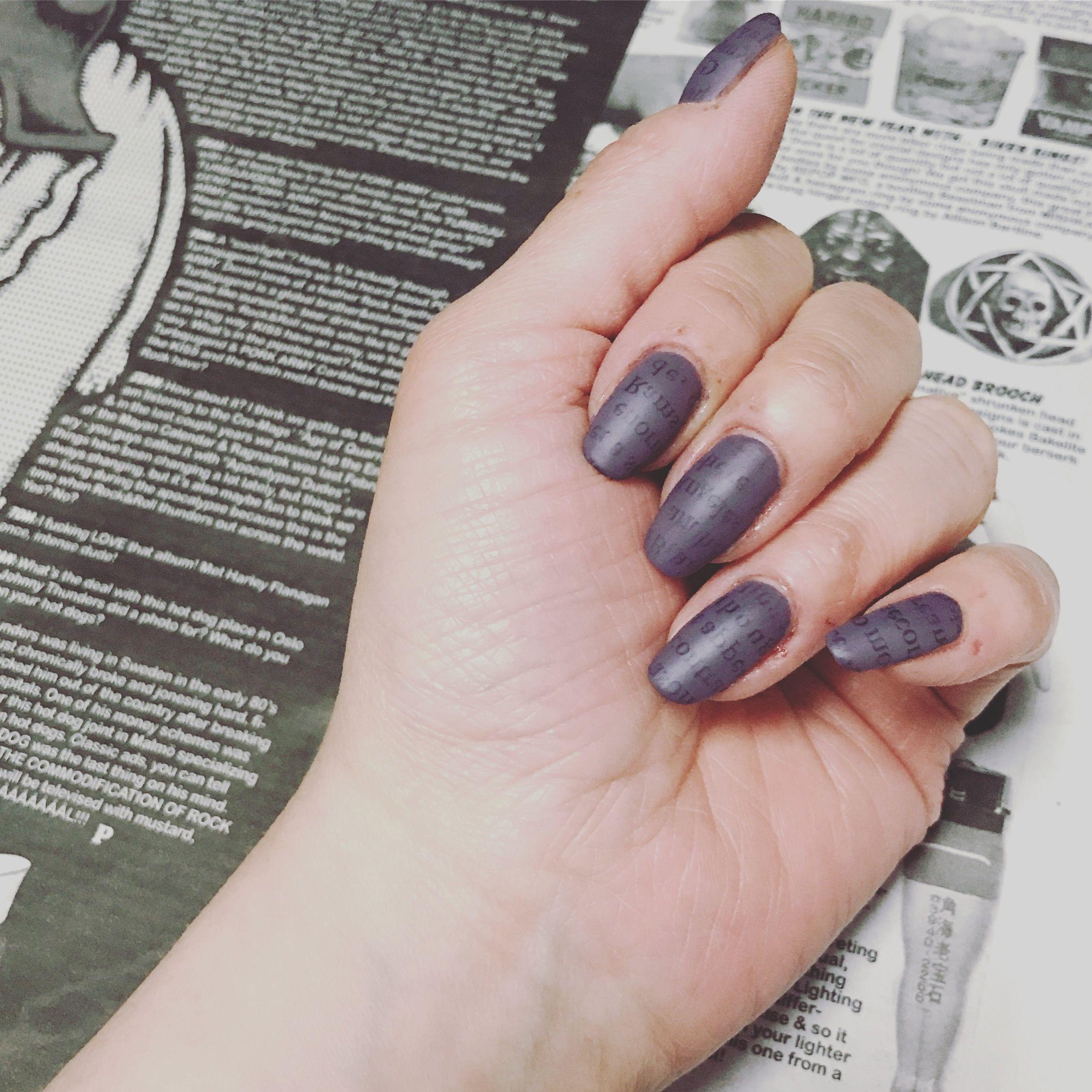Today S Nail Art Newspaper Print Nail Newspaper Nail In 2018