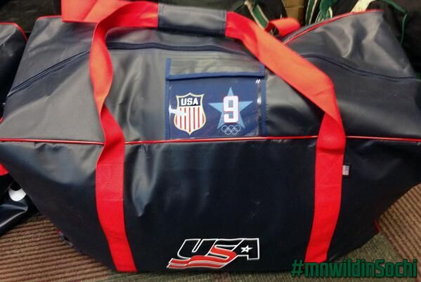 9a02cf3a8337 USA Hockey captain Zach Parise s equipment bag ready for weekend flight to   Sochi2014  mnwildinSochi  captainamerica