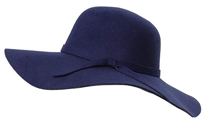 988df3e6c47 Young Me Women s Foldable Wide Brim Wool Ribbon Band Floppy Hat ...
