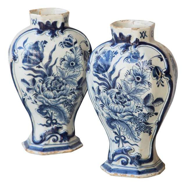 18th Century Pair Of Large Blue White Delft Mantle Vases Marked