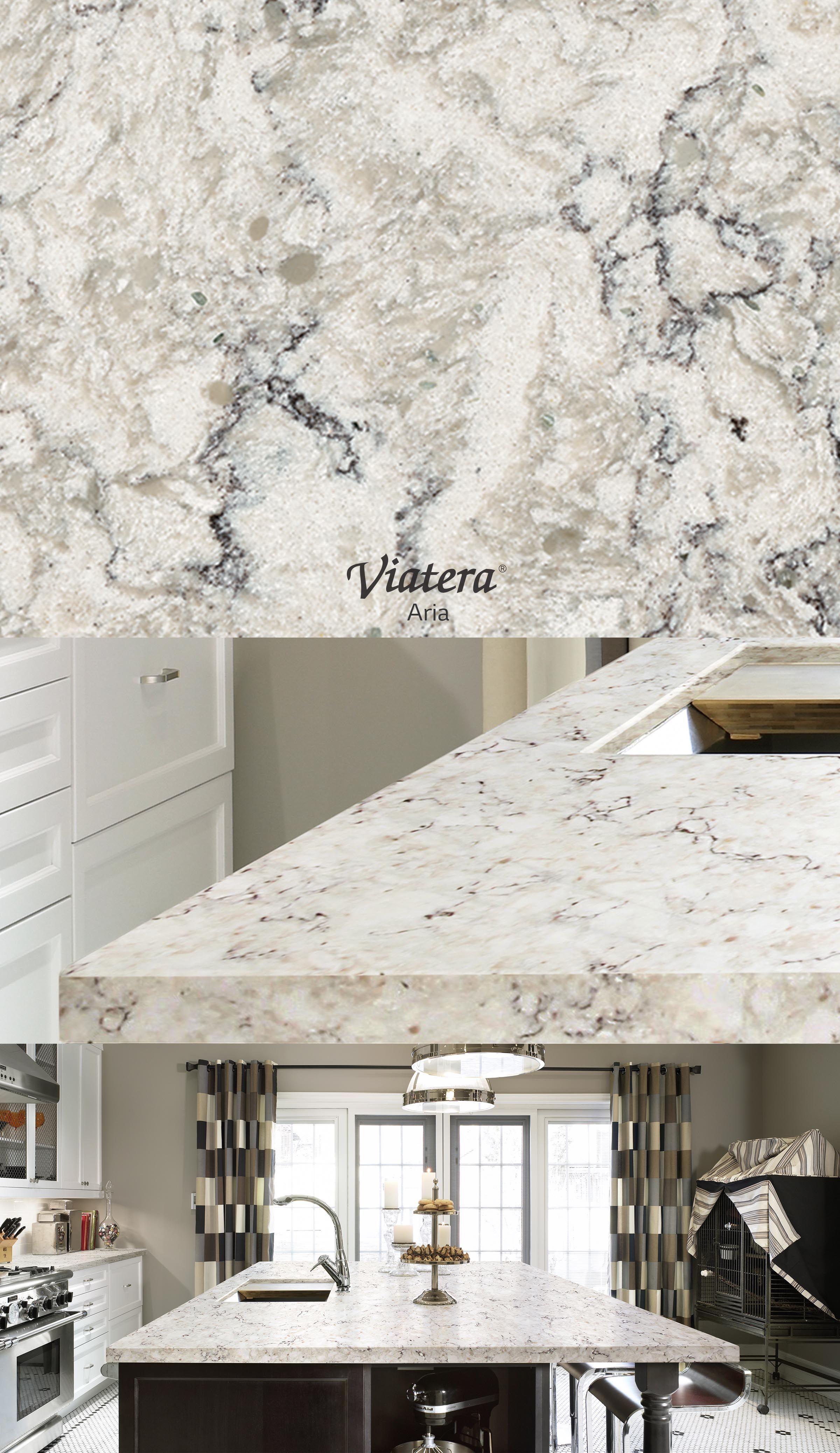Viatera Aria l Quartz countertop. Stone Counters   Copper Sinks   Laminate countertop  Countertop
