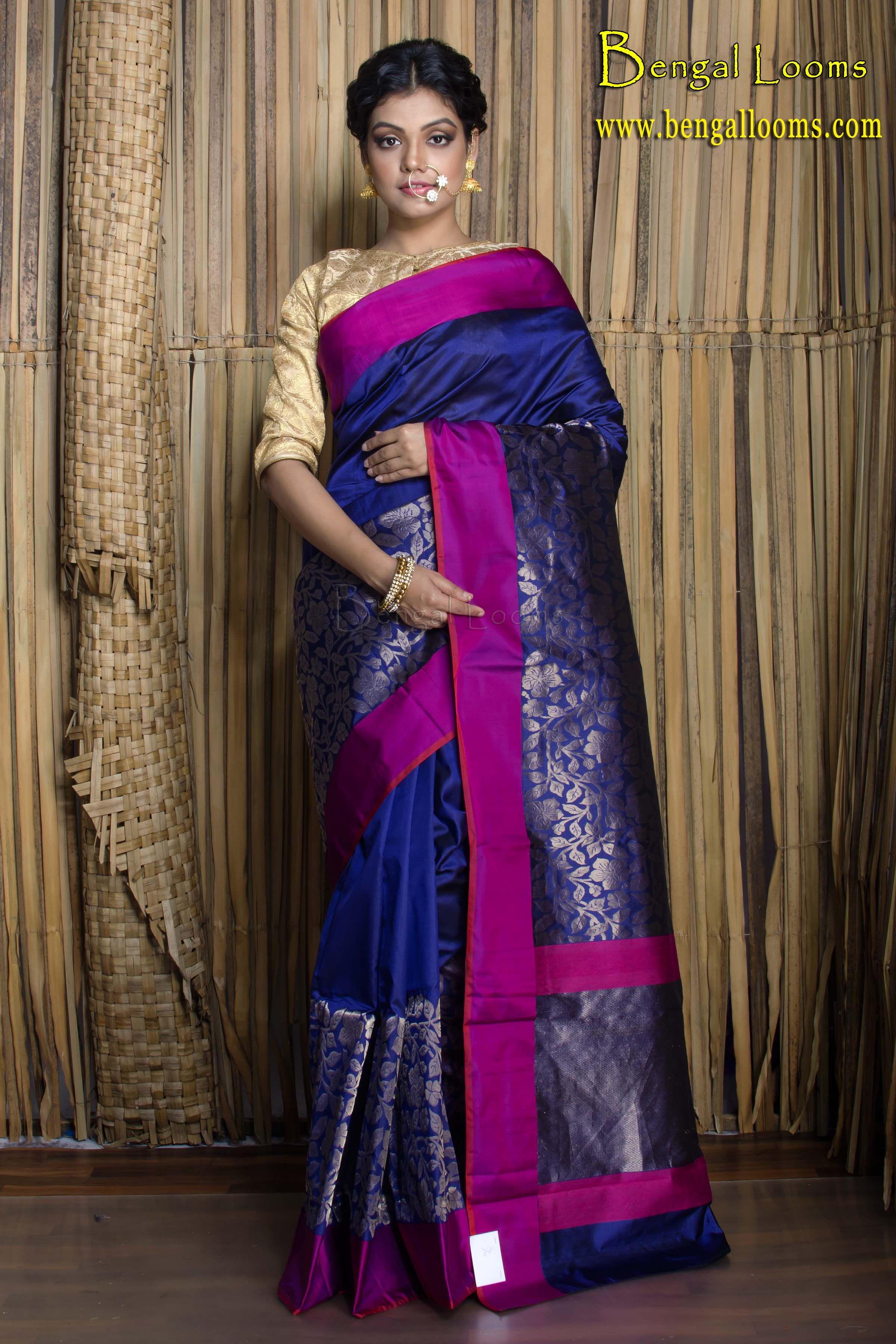 78c0fd1e55950 Pure Katan Silk Banarasi Saree in Navy Blue