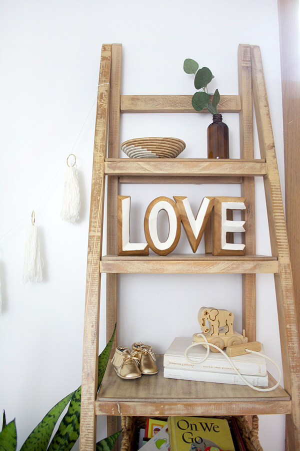 A modern boho chic nursery for a