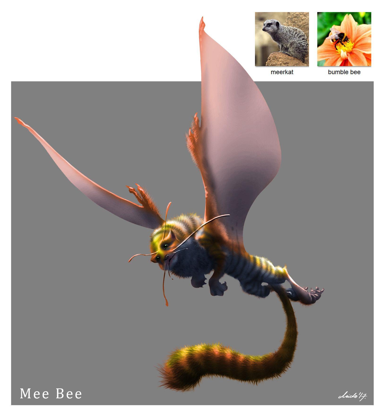 Artstation random creature mashup project 034 mee bee