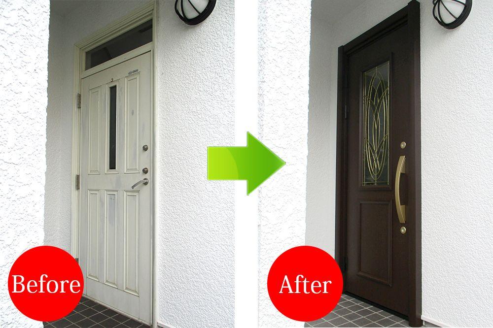三井ハウスの玄関ドア交換施工例 手作りステンドグラスの玄関ドアへ