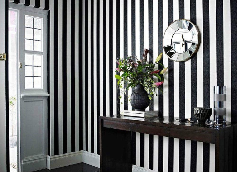 9 Clever Ways To Counteract Low Ceilings Stripe Wallpaper Bedroom Striped Walls Striped Wallpaper