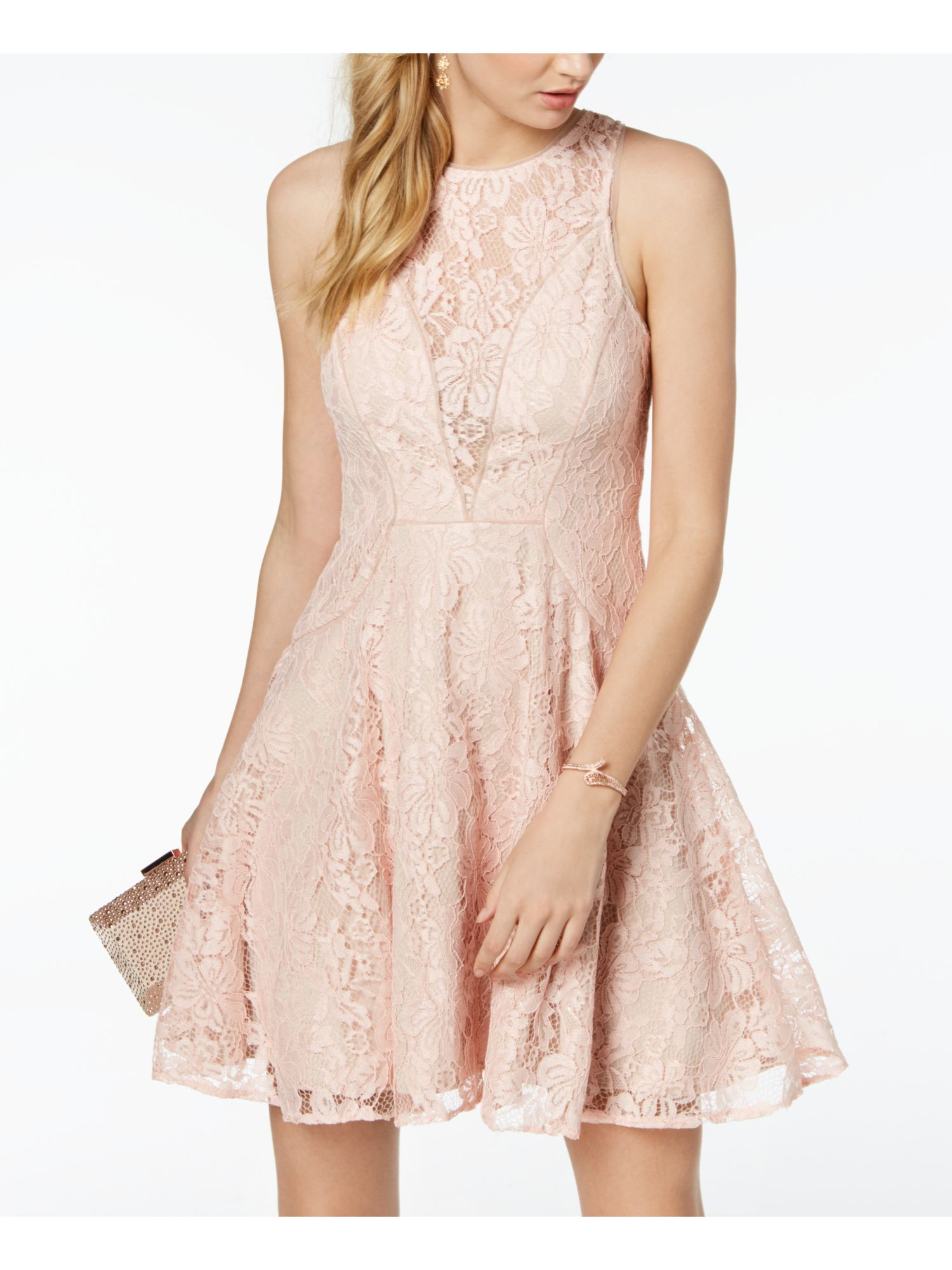Xscape Xscape Womens Pink Lace Sleeveless Jewel Neck Mini Fit Flare Party Dress Size 10 Walmart Com Pink Ladies Dresses Clothes For Women [ 2000 x 1500 Pixel ]