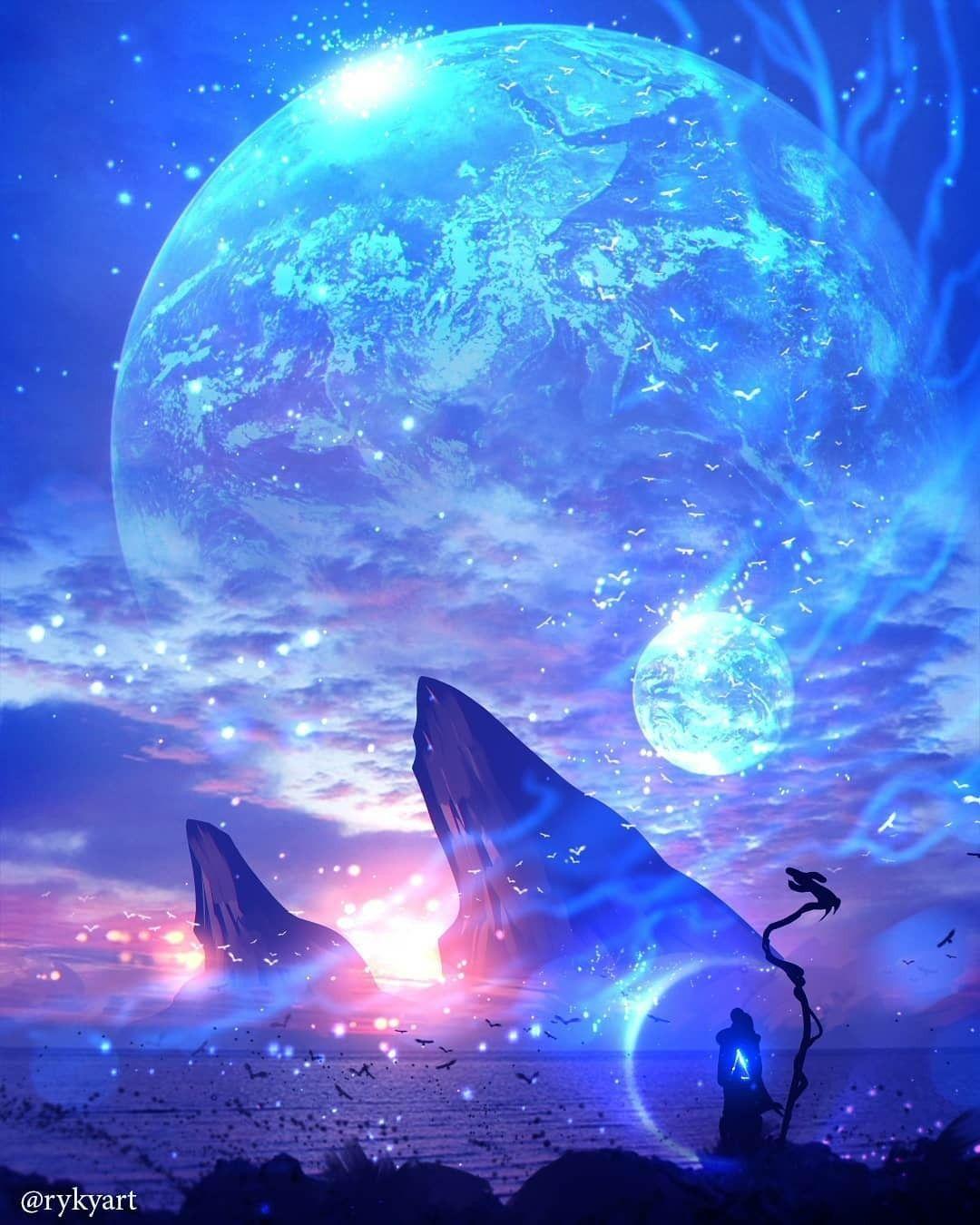 Artist RYKY rykyart Galaxy painting, Anime scenery