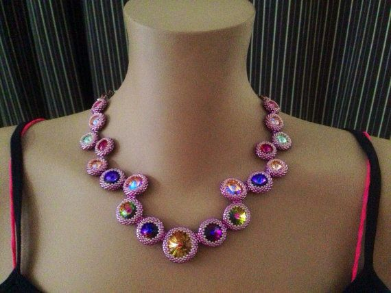 Image result for How to make a necklace with Rivoli beads?