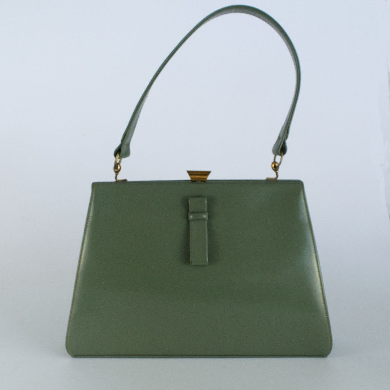 Green vintage leather 1950's framed handbag made in England by ...
