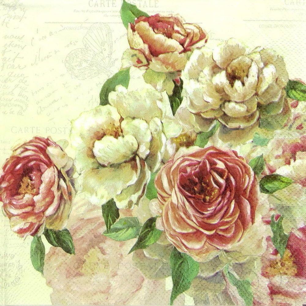4x Paper Napkins for Decoupage Decopatch Craft Vintage Rose