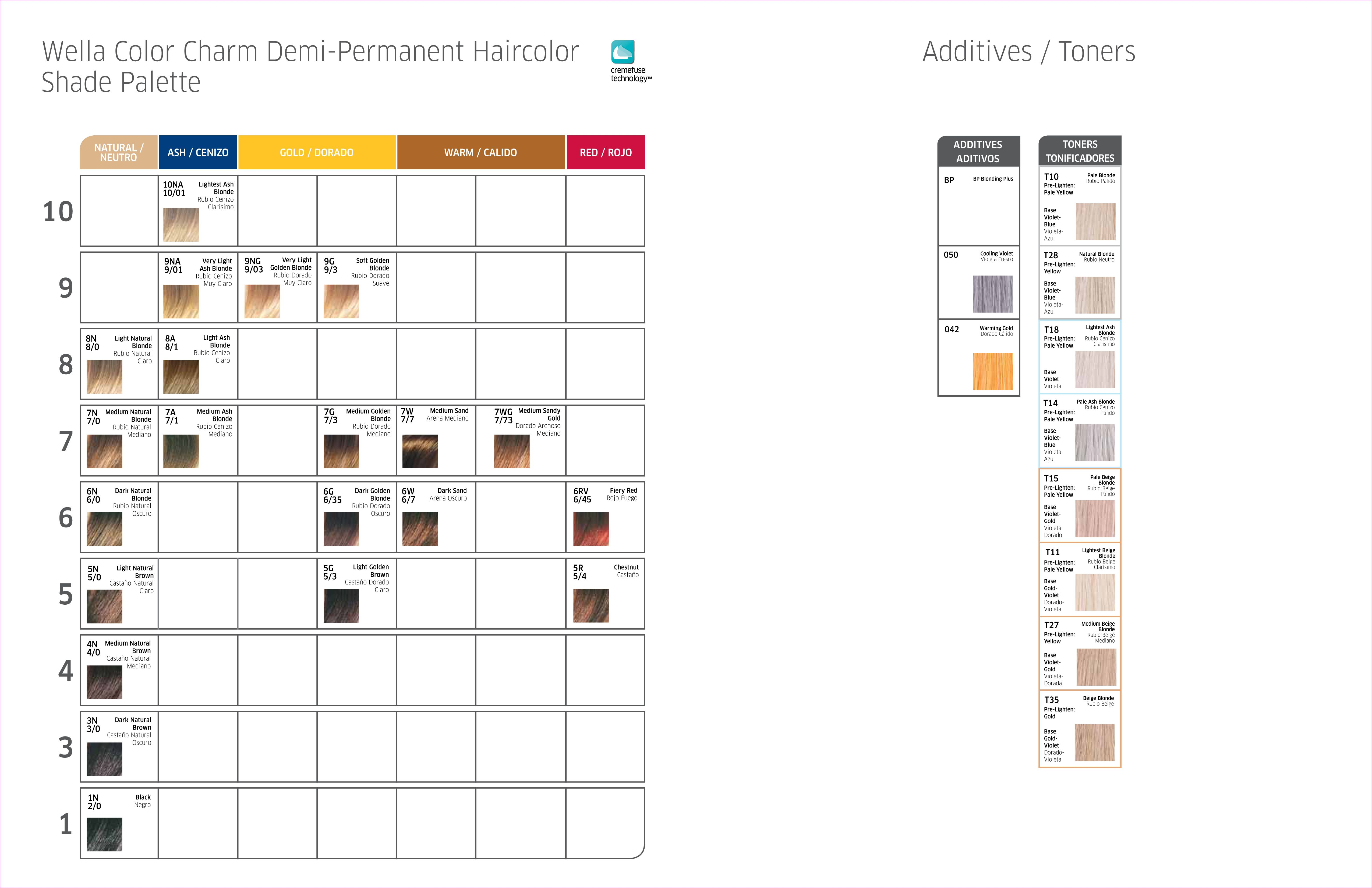 Wella Color Charm Demi Permanent Haircolor Shade Palette Additives Amp Toners