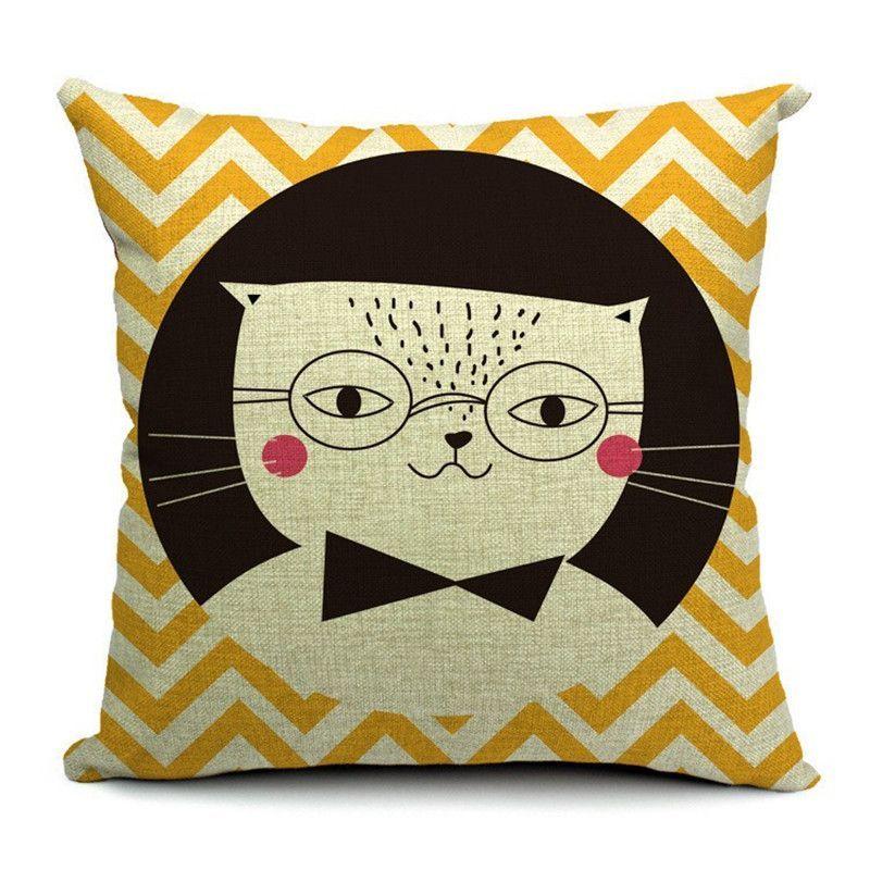 Throw Pillow Case Cartoon Pattern Colorful Home Decorative Sofa Cushion Cover
