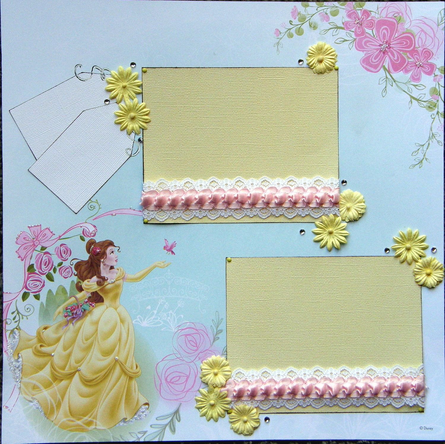 Scrapbook ideas names - 12x12 Premade Scrapbook Layout Featuring Disney S Belle Add A Name For Free