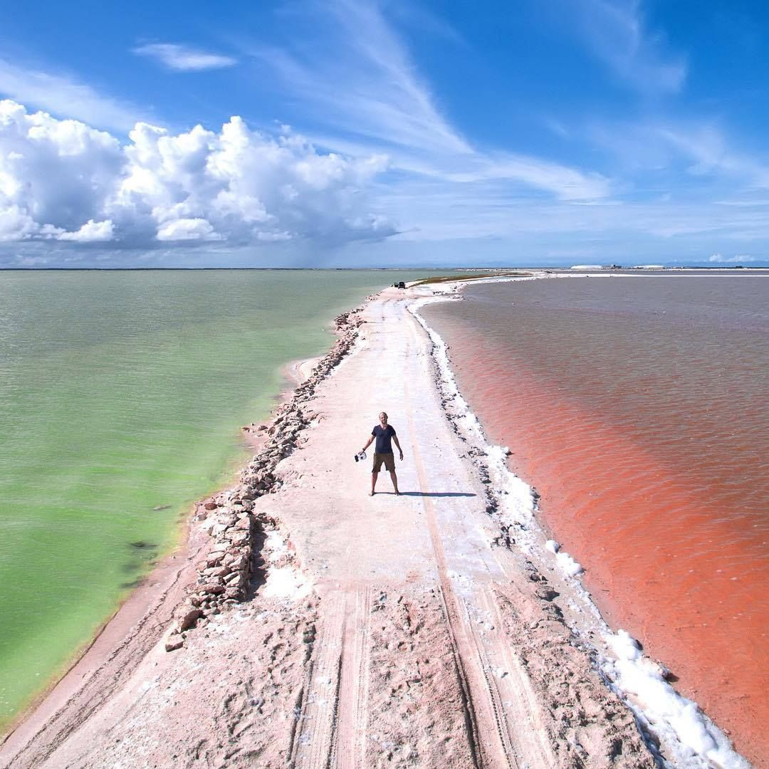 Where Pink, Green, And Orange Water Meet Las Coloradas