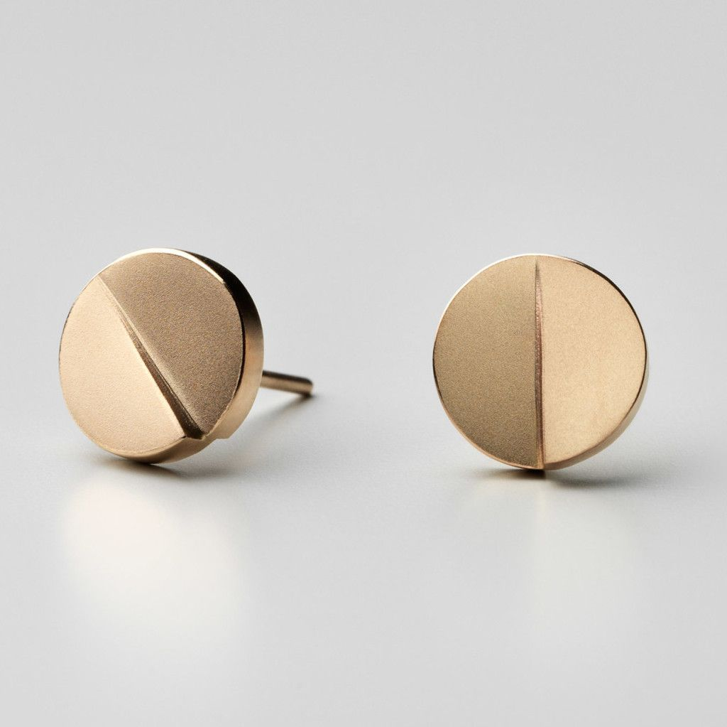 Patrik Hansson Gold Disc Stud Earrings Orro Contemporary Jewellery Glasgow