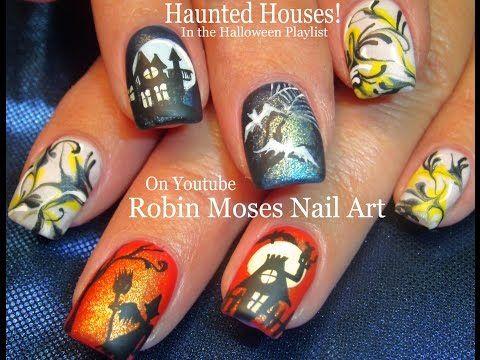 Halloween Nail Art Haunted House Nails No Water Marble Nail