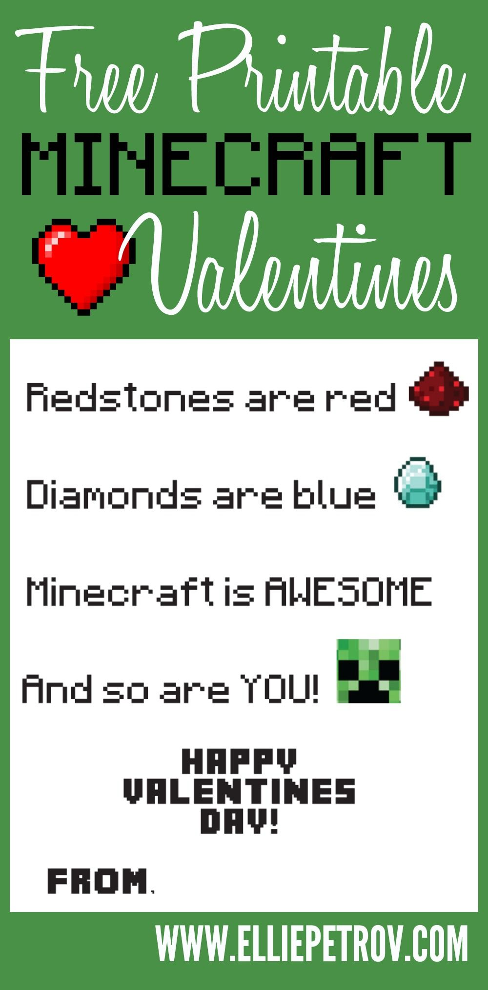 Printable Minecraft Valentine Hearts Day Valentines Valentine