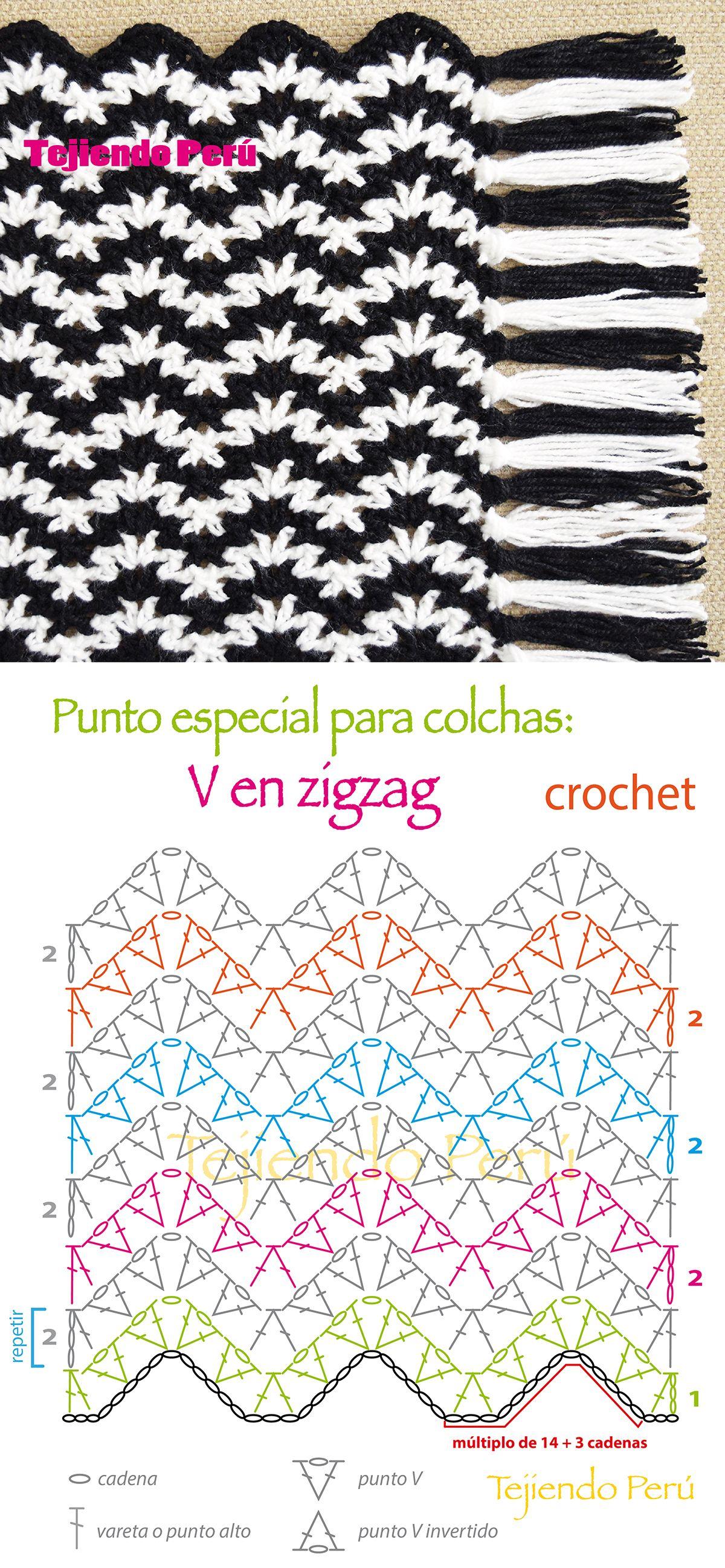 Crochet: punto especial para tejer una #colcha manta o #cobija! En ...