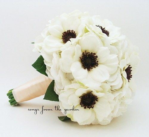White anemone black center wedding bouquet white silk hydrangea white anemone black center wedding bouquet white silk hydrangea silk flower black and white wedding bouquet mightylinksfo