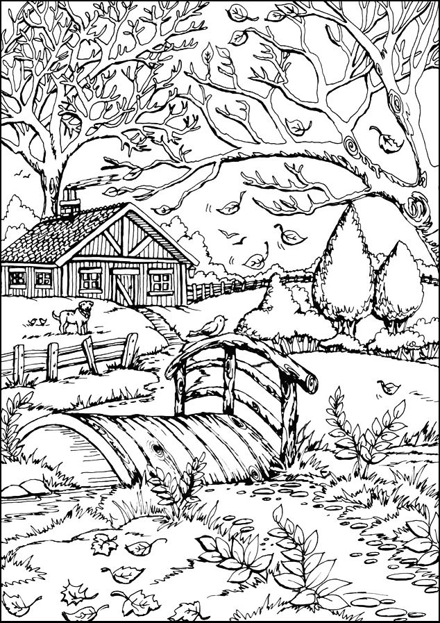 Autumn Farmstead Bridge | Fall coloring pages, Coloring ...