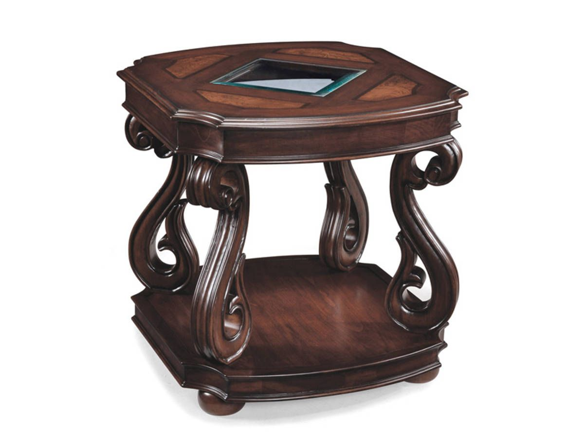 Harcourt Traditional Cherry Wood Gl Rectangular End Table
