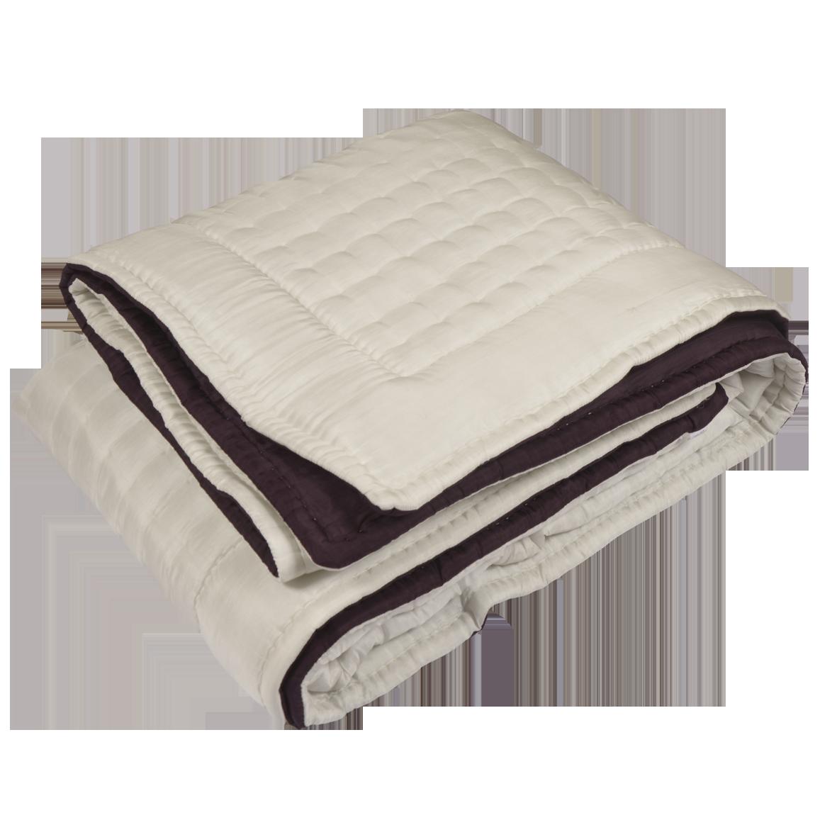 couvre lit matelassé polyester Boutis couvre lits réversible ivoire/ prune   220 X 240   100  couvre lit matelassé polyester