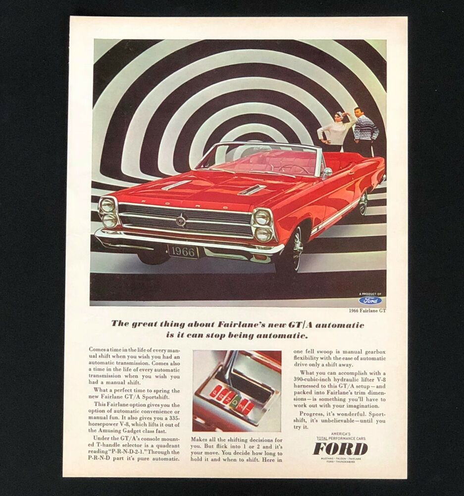 1966 ford fairlane gt advertisement red convertible car