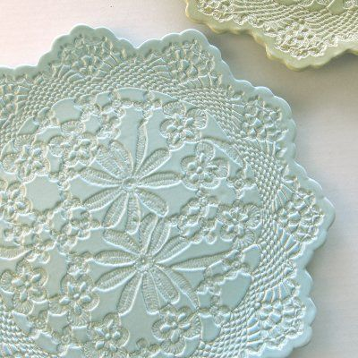 English Garden Cake Plate = doily on air dry clay