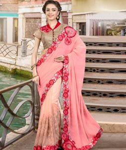 Buy Peach Net Party Wear Saree 77884 with blouse online at lowest price from vast collection of sarees at Indianclothstore.com.